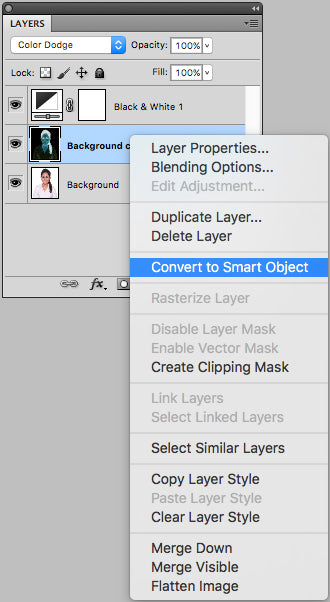 Convert black and white layer to smart object