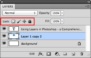 Lock icon at the top of the layers menu