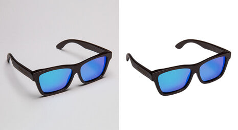 Background removal before-after example of sunglass image