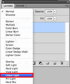 Select liner light from blending mode