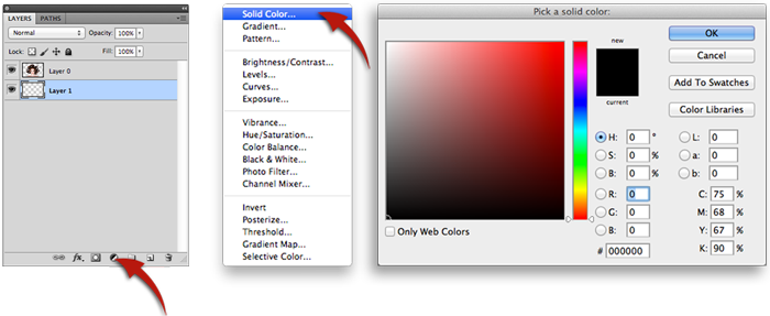 Select solid color from icon option