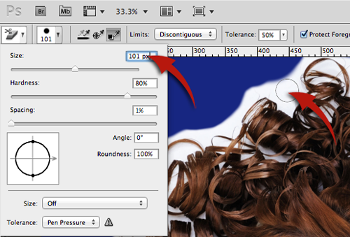 Size option of background eraser tool