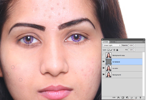 Using clone stamp tool selecting-the-clear-area-and-dragging-them to the spots area of skin