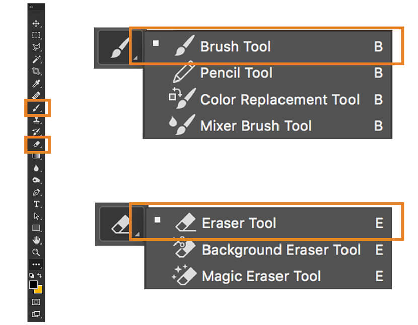 Brush and eraser tool
