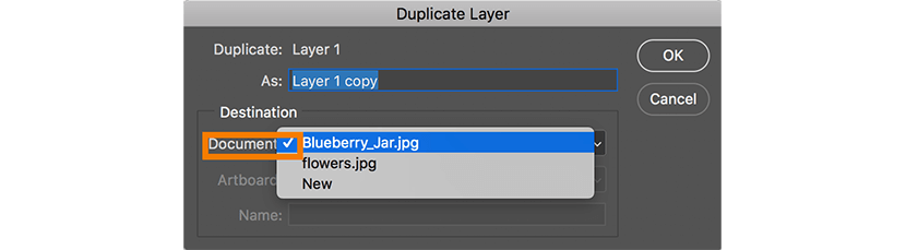 Duplicate layer menu
