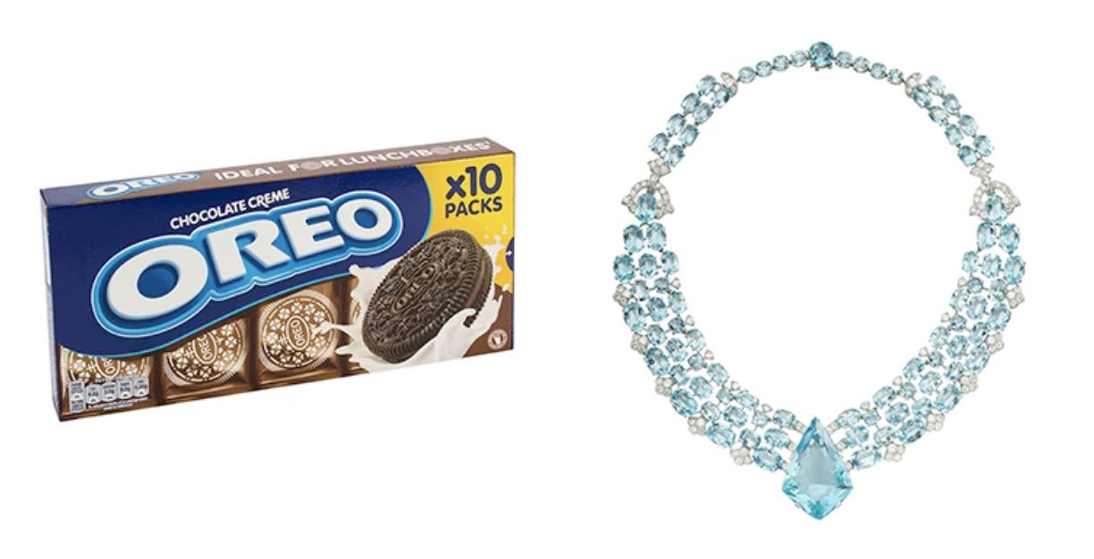 A box of Oreos would cost less to edit compared to a detailed necklace.