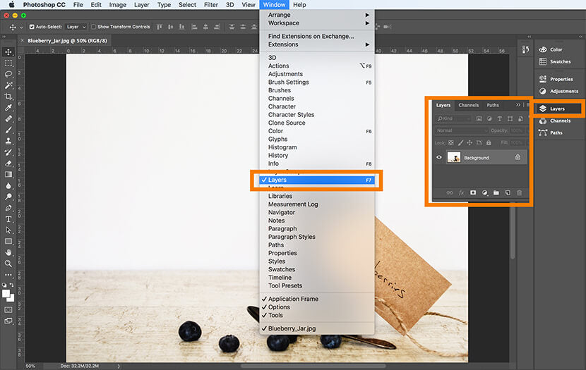 Layers drop down menu