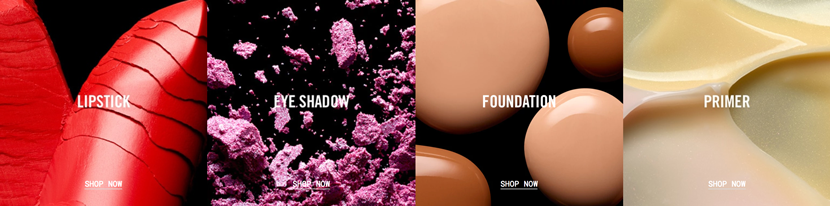 Mac cosmetics, black background product photography