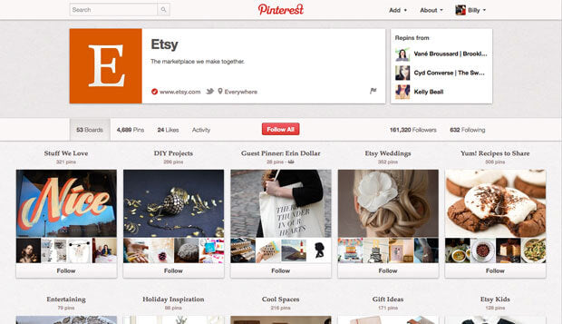 Pinterest for ecommerce etsy business page