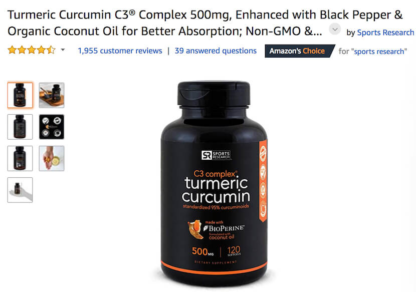 Turmeric Curcumin C3 supplement by Sports Research