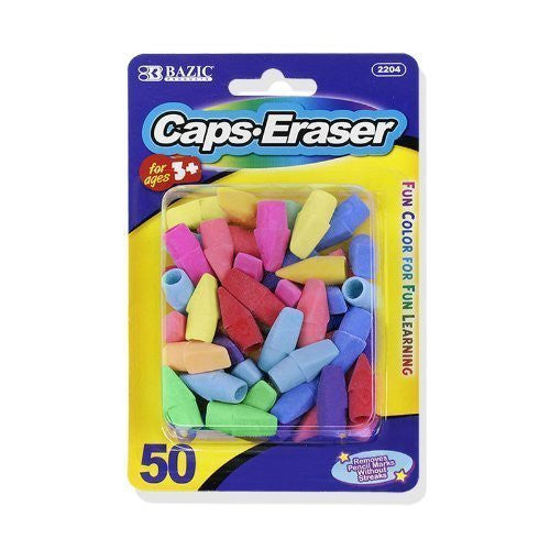 Bazic Pencil Top Erasers, Assorted Colors, Pack of 50 - GreatHoard.com