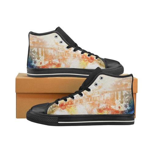 Aquila High Top Canvas Men's Shoes-Watercolour Electric Guitar