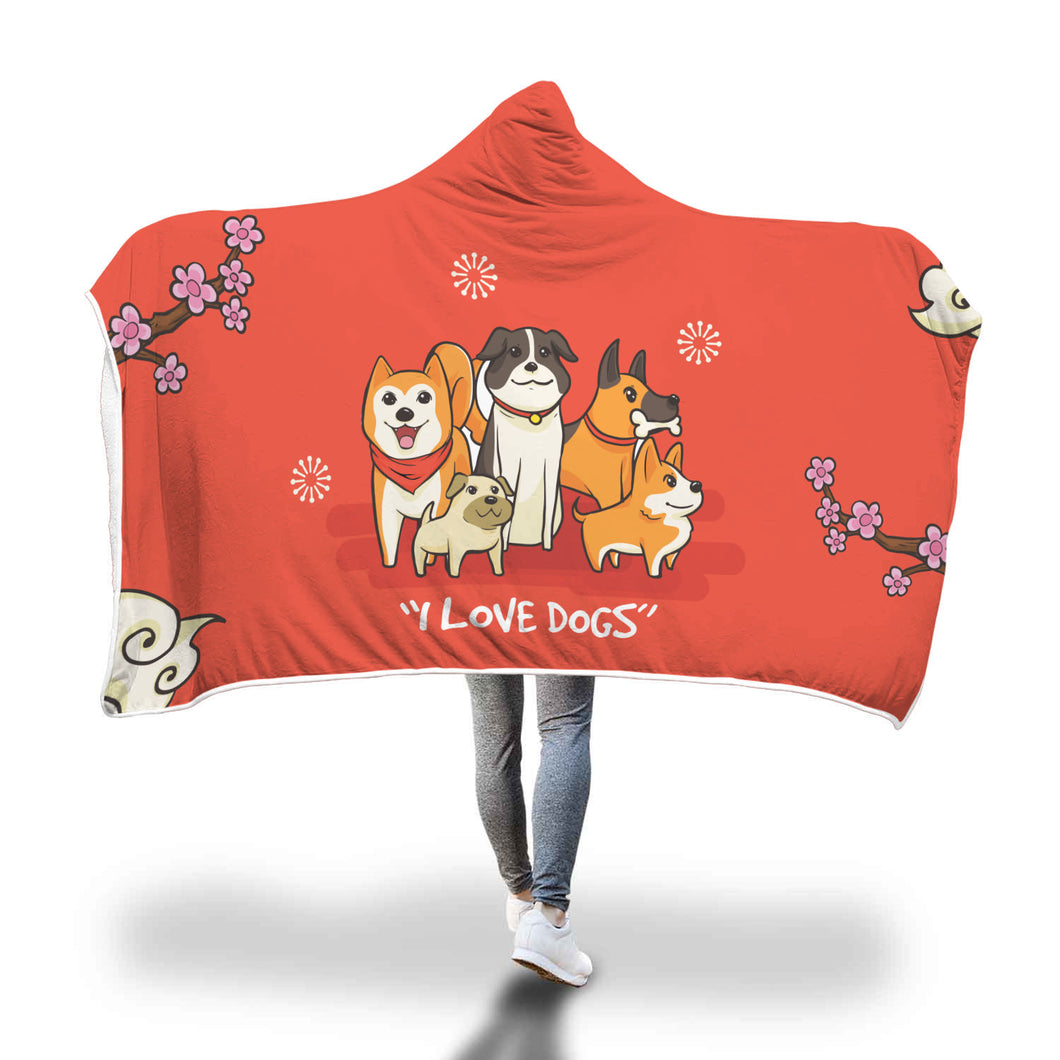 ''I love dogs''- Hooded Blankets - wonderlandaccessories
