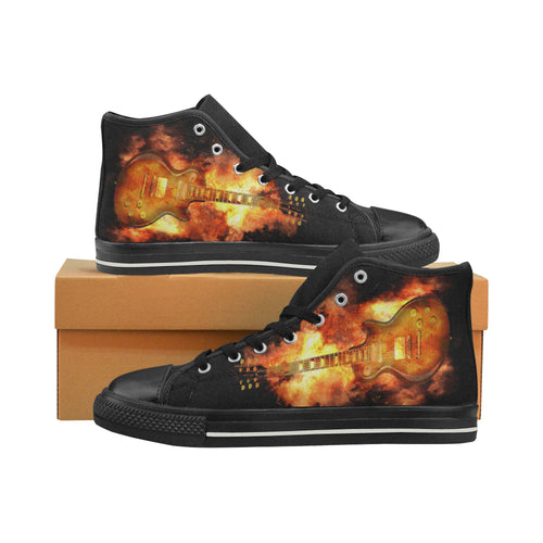 Aquila High Top Canvas Men's Shoes -Guitar on Fire