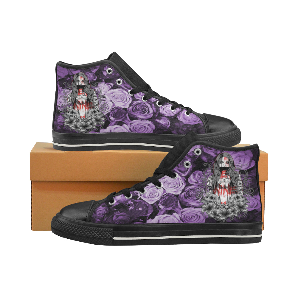 Aquila High Top Canvas Women's Shoes -Tattoo Design Woman, Skulls and Flowers - wonderlandaccessories