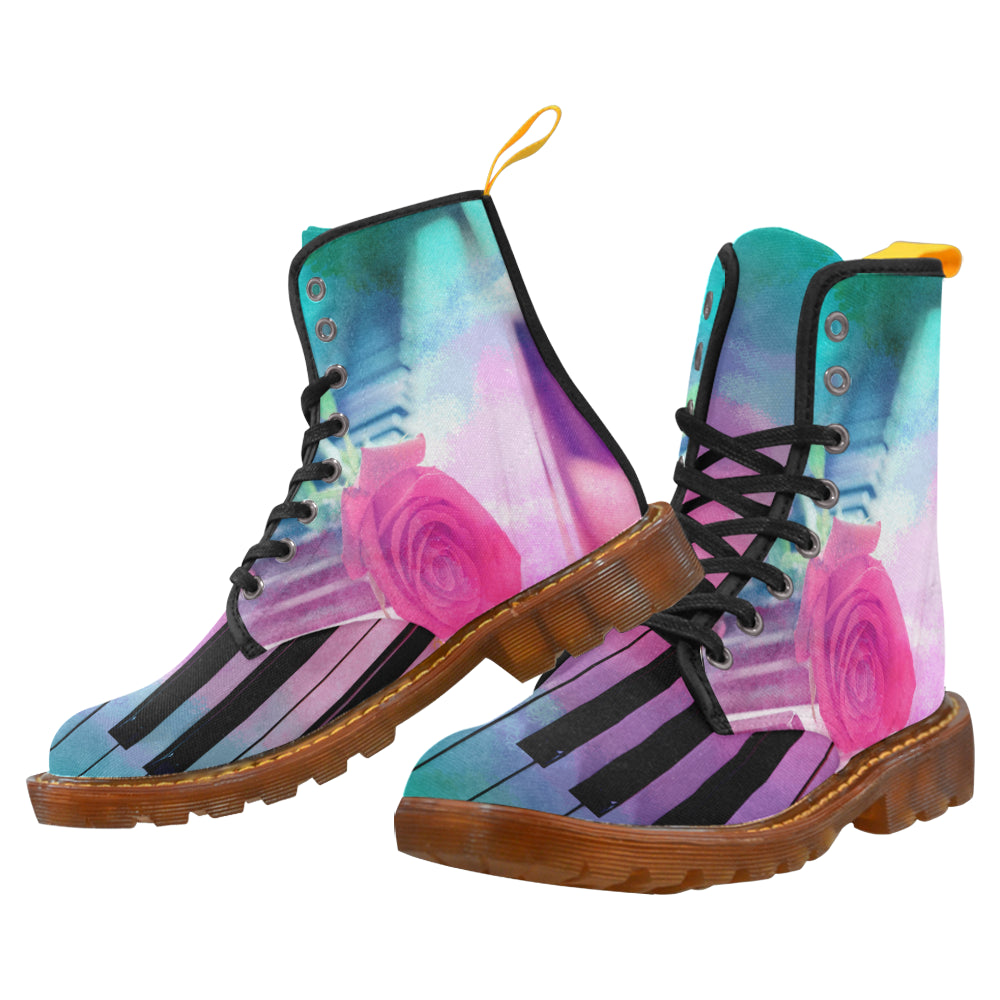 Women's Lace Up Canvas Boots-Watetcolour Piano and Rose - wonderlandaccessories