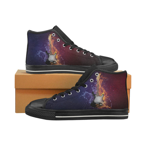 Aquila High Top Canvas Men's Shoes-Electric Guitar in Flames and Water