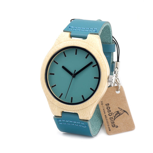 Minimal Color Bamboo Watch with Leather Wristband for Men