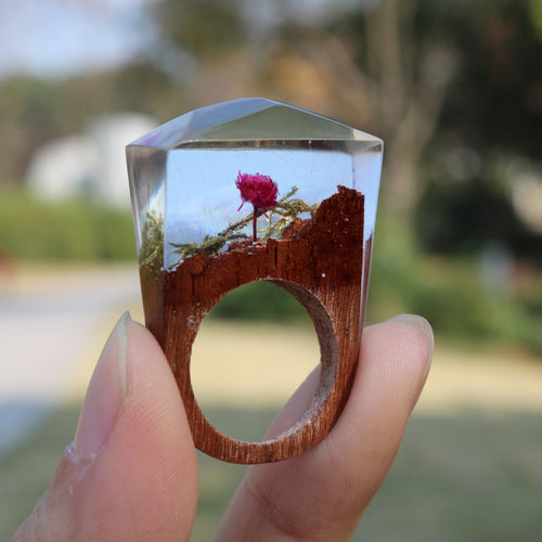 Romantic Blooming Rose Wooden Ring  for Women