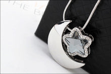 Moon and Star Long Chain Necklace with Swarovski - wonderlandaccessories