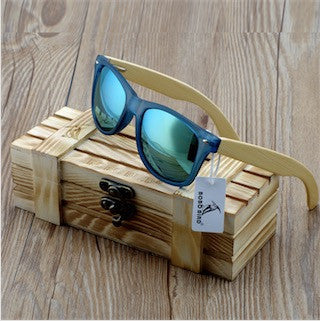 Blue Transparent, Square Bamboo Wood Sunglasses, in 4 color  variety of lenses for  Women - wonderlandaccessories
