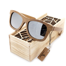 Vintage Rectangular Polarized Mirror in 6 Color Variey of Lens  Bamboo Wood Sunglasses for Men - wonderlandaccessories