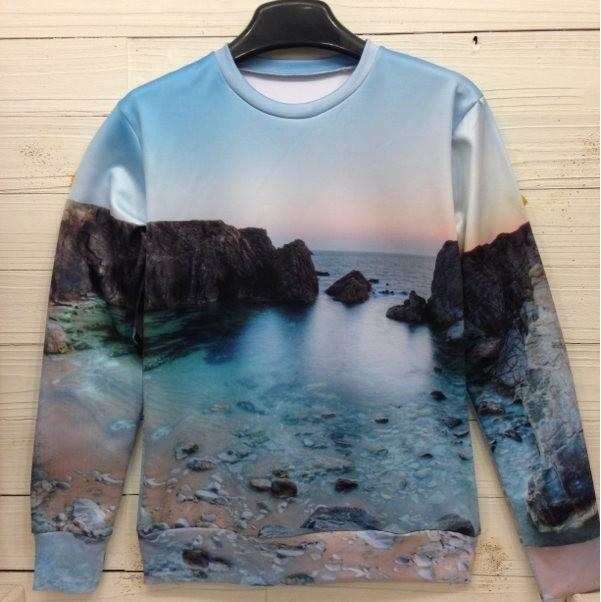 Magnificently Beautiful Sea Landscape, 3D Print All-Over Hoodie - wonderlandaccessories
