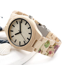 Printing Flower Wooden Band and Bamboo Case Watch for Women - wonderlandaccessories