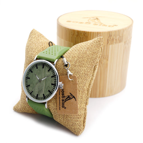 Moss Green Bamboo case Watch with Green Dial Soft Slicone Band in 2 Strap Colors for Men and Women