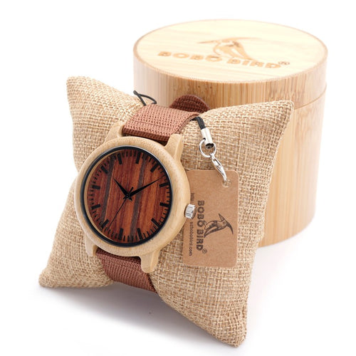 Striped Brown Bamboo Wooden Watch with Nylon Band for Men and Women