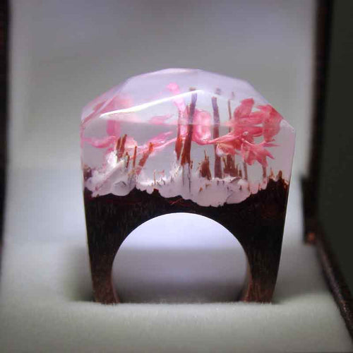Gorgeous Pink Flower Secret Garden Wooden Ring for Women - wonderlandaccessories