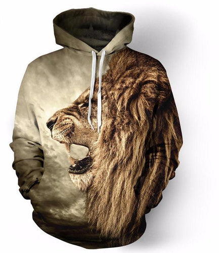 Lion Featuring All Over Print Hoodie - wonderlandaccessories