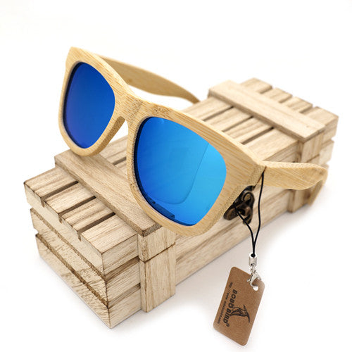 Rectangular, Polarized UV400 Protection, in 2 Lens color variety, Bamboo Wood Sunglasses for Men