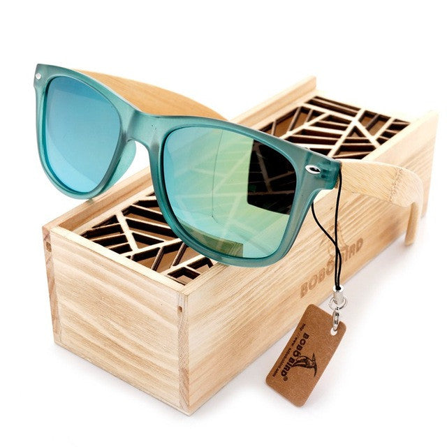 Tortoise-Shell Bamboo Wood Sunglasses, in 4 lens color variety for Men - wonderlandaccessories