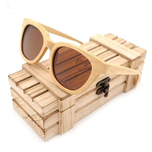 Brown, Rectanguar, Polarized in 2 Lens color variety, Bamboo Wood Sunglasses for Men and Women