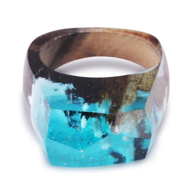 Nocturnal Mountain Landscape  Resin Wood Rings for Women in 2 shades of blue - wonderlandaccessories