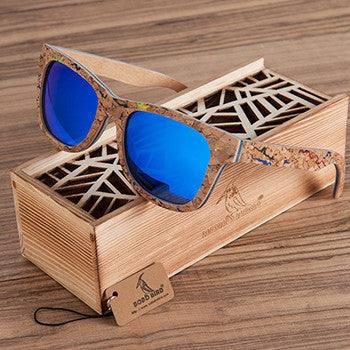Unique Retro Polarized Cork Wooden Sunglasses in 3 Lens Color Variety for Men - wonderlandaccessories