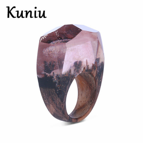 Purple Frame scenery wooden Ring for Women - wonderlandaccessories