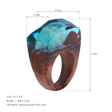 Elegant Shell and Red Rose Undersea Impression Wooden Ring for Women - wonderlandaccessories