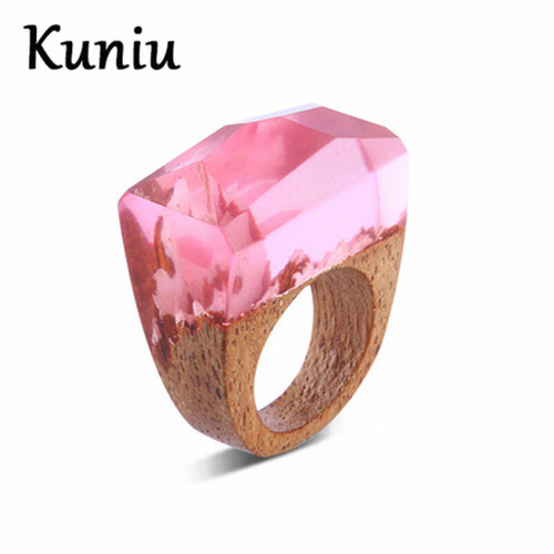 Pink Wooden Ring for Women