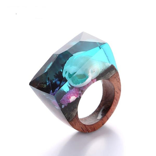 Stunning Underwater Seashell  Wooden Ring For Women - wonderlandaccessories