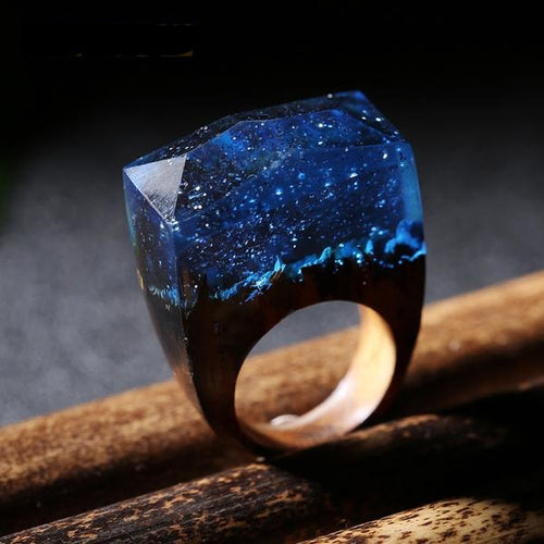 Magic Nocturnal Sky Wooden Handmade Ring for Women