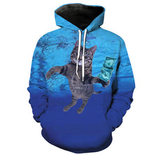 Diving Cat Catching a Dollar 3D Print All-Over Hoodie - wonderlandaccessories