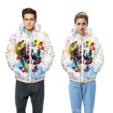 Watercolor Butterfly Skull, Fleece Hoodie - wonderlandaccessories