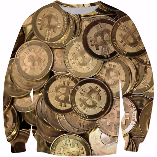 Bitcoin 3d All Overprint Sweatshirt Crewneck Pullover - wonderlandaccessories