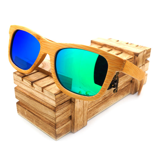 Vintage Rectangular Polarized Mirror in 6 Color Variey of Lens  Bamboo Wood Sunglasses for Men