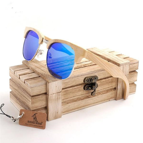 Retro, Semi-Rimless Horn Classic Bamboo Wood Sunglasses in 2 color variety of lenses