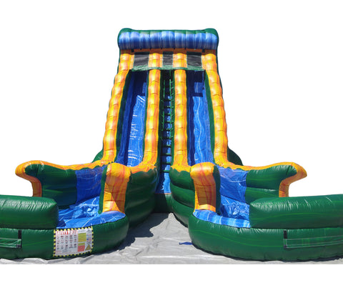 #5 - 22' Dual Lane Green Water Slide