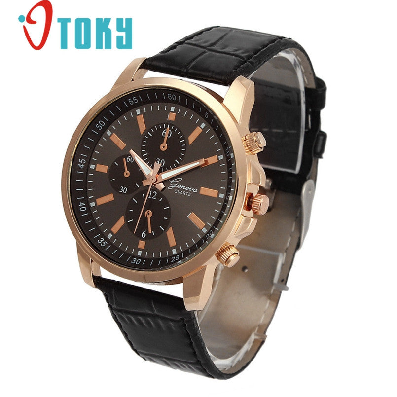 Excellent Quality New Brand Luxury Quartz Watches Men's Fashion Geneva Quartz Clock Leather Strap Wristwatches Relogio Masculino