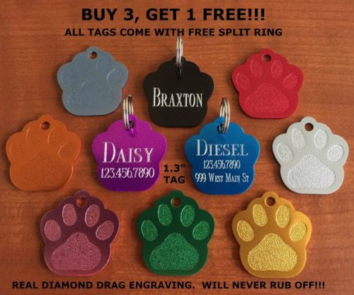 FREE ENGRAVING Pet ID Tag Perfect For All Sized Dogs.
